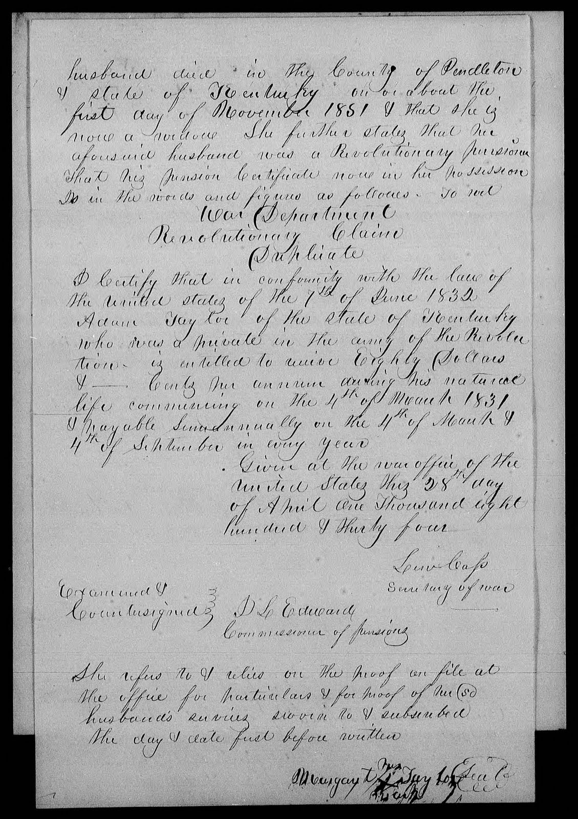 husband died in the county of pendleton state of kentucky on or about the first day of november 1851 that she is now a widow