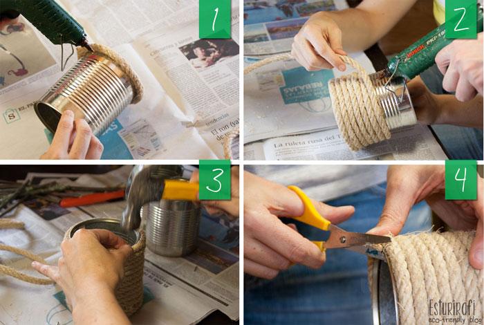 """Para el jarrón de cuerda lo que tienes que hacer es echar unas gotas de silicona sobre la lata e ir pegando poco a poco la cuerda, asegúrate de que está bien pegada y en cada vuelta presiona la cuerda bien para que queden todas las vueltas bien juntas.  Al final, yo lo rematé con una puntita y una gota de silicona para que no se despegase la cuerda. Para que quede bien rematado corté los """"pelitos"""" de la cuerda. ¡Y ya está! Ya tienes un jarrón listo."""