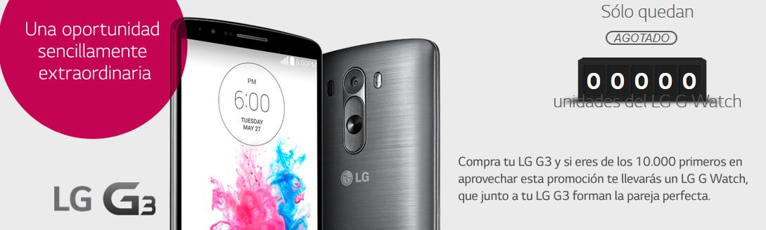 La promoción de un LG G Watch gratis al comprar un LG G3 ha terminado.