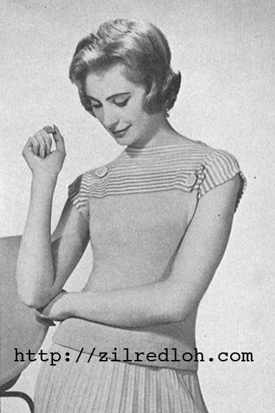 1950's Knitting pattern for a women's Striped Yoke Jumper