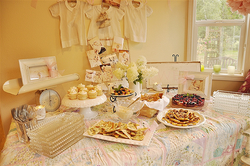 vintage baby shower dessert table decor