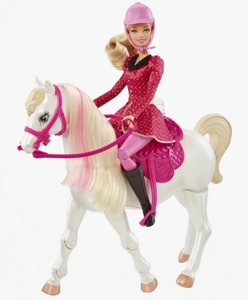 Gambar boneka barbie untuk anak naek kuda