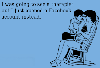 An image with a sarcastic comment about Facebook