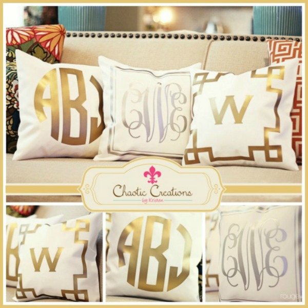gold monogrammed pillow