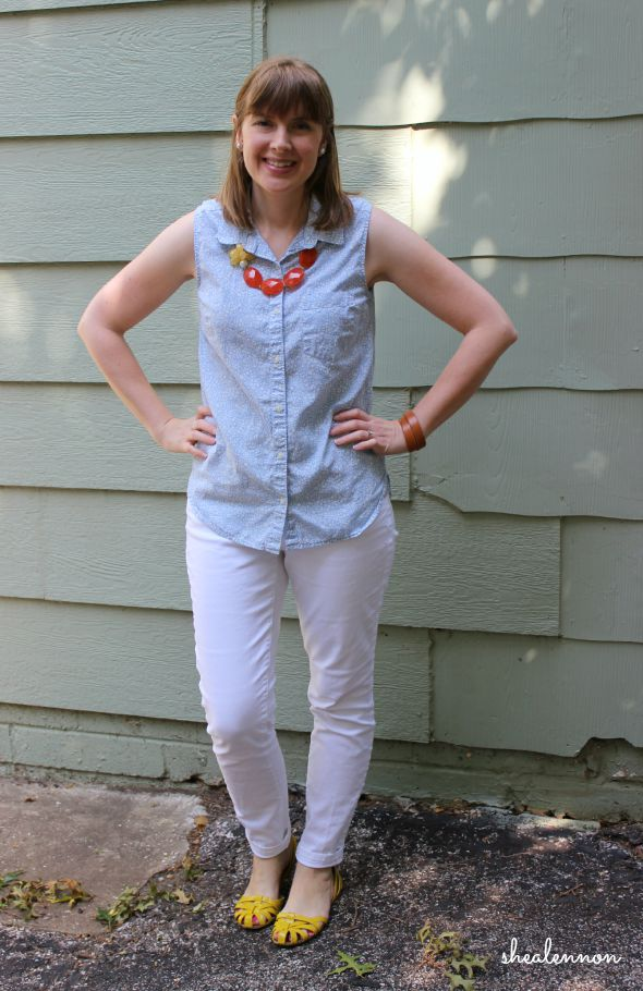White jeans with sleeveless button up for the weekend | www.shealennon.com