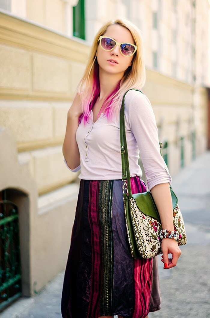 patchwork skirt floral bag