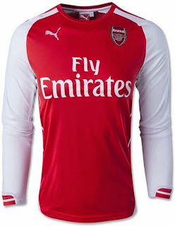jersey grade ori arsenal, lengan panjang, jual online arsenal, long sleeve, home, away, third, 2014/2015, jaket arsenal training