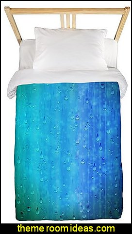 Wet Blue Twin Duvet Cover rain wet weather theme bedroom decorating raindrops bedding