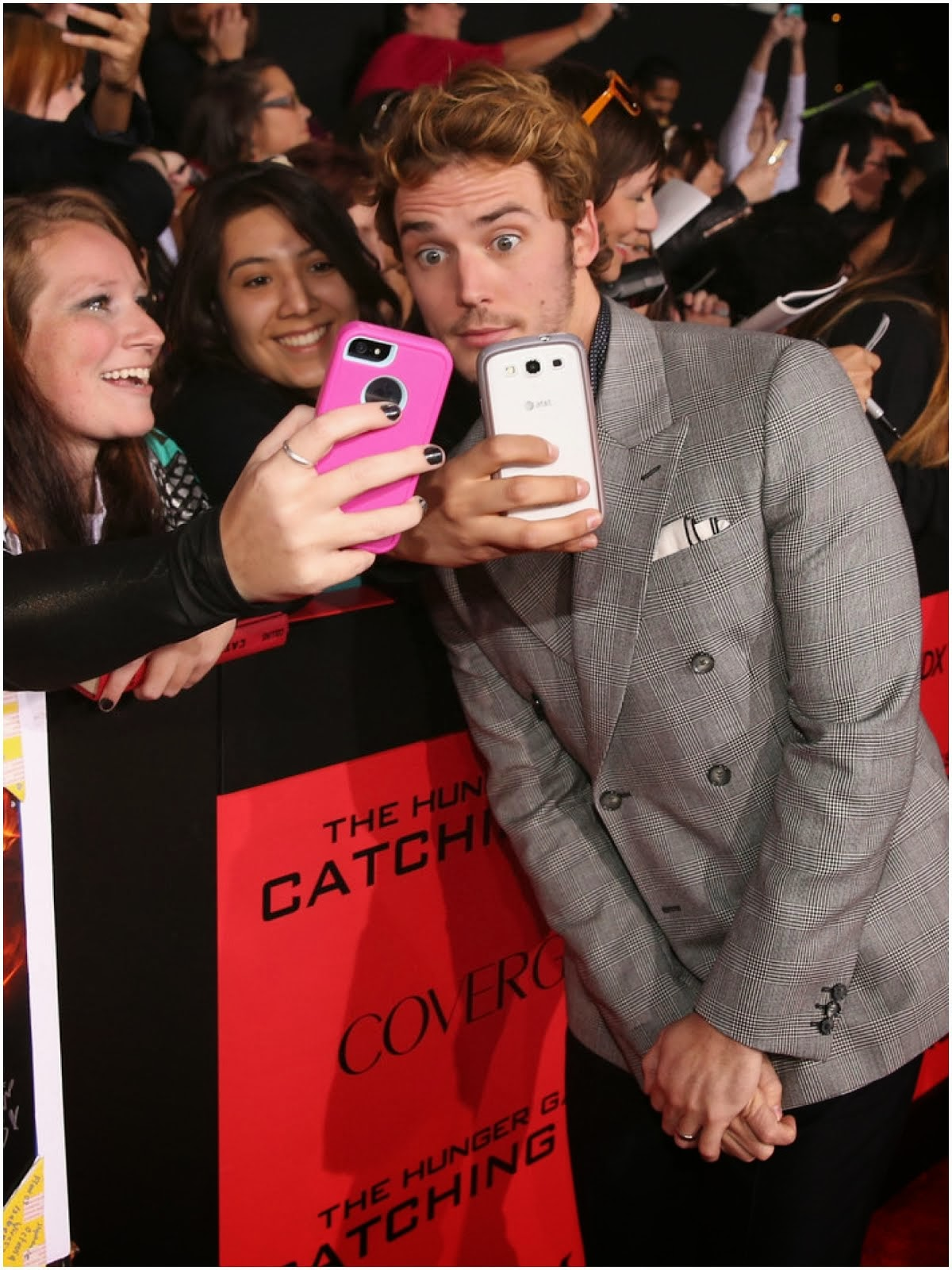 Sam Claflin in Alexander McQueen PRINCE OF WALES DOUBLE BREASTED JACKET - 'The Hunger Games: Catching Fire' Los Angeles Premiere November 2013