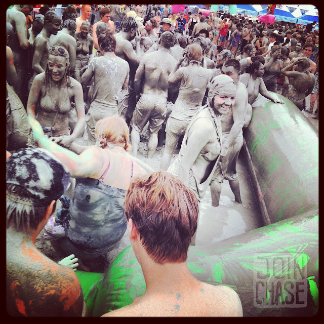 Mud wrestling at the Boryeong Mud Festival 2012 in Boryeong, South Korea.
