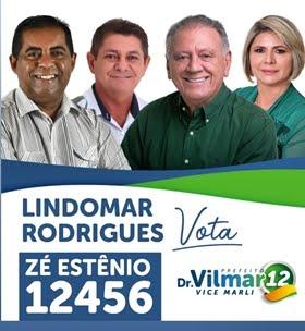 Para vereador Zé Estênio 12456 e para prefeito Dr. Vilmar 12
