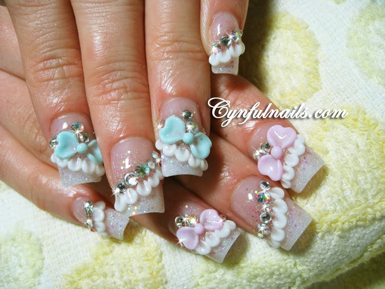 The Captivating Light blue bow nail designs Pics