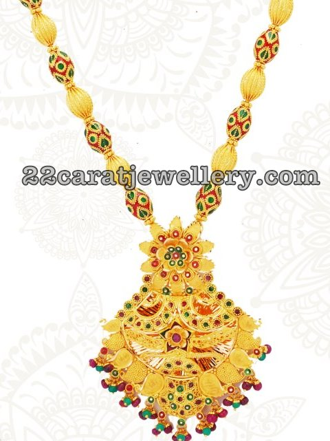 Gold Jewellery with Enamel Paint Jewellery Designs