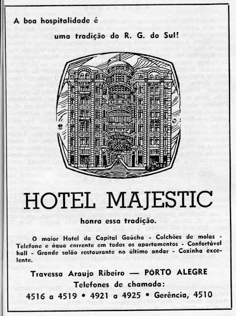 Propaganda do Hotel Majestic, de Porto Alegre, veiculada em 1955.
