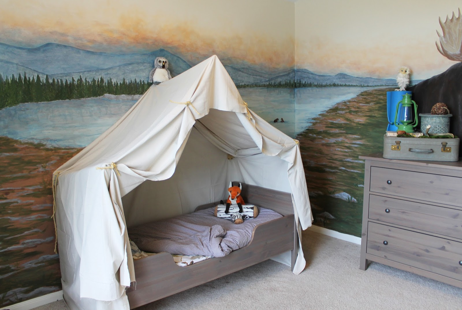 Pottery barn kids camp bed - I Staged The Dresser With Everything You D Need On A Camping Trip Foam Mat Vintage Suitcase Vintage Minnow Bucket Lantern From Pottery Barn Which I