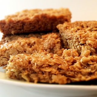 Freshly made golden syrup flapjacks