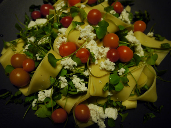 Miner's lettuce with pappardelle, cherry tomatoes, and fresh ricotta cheese