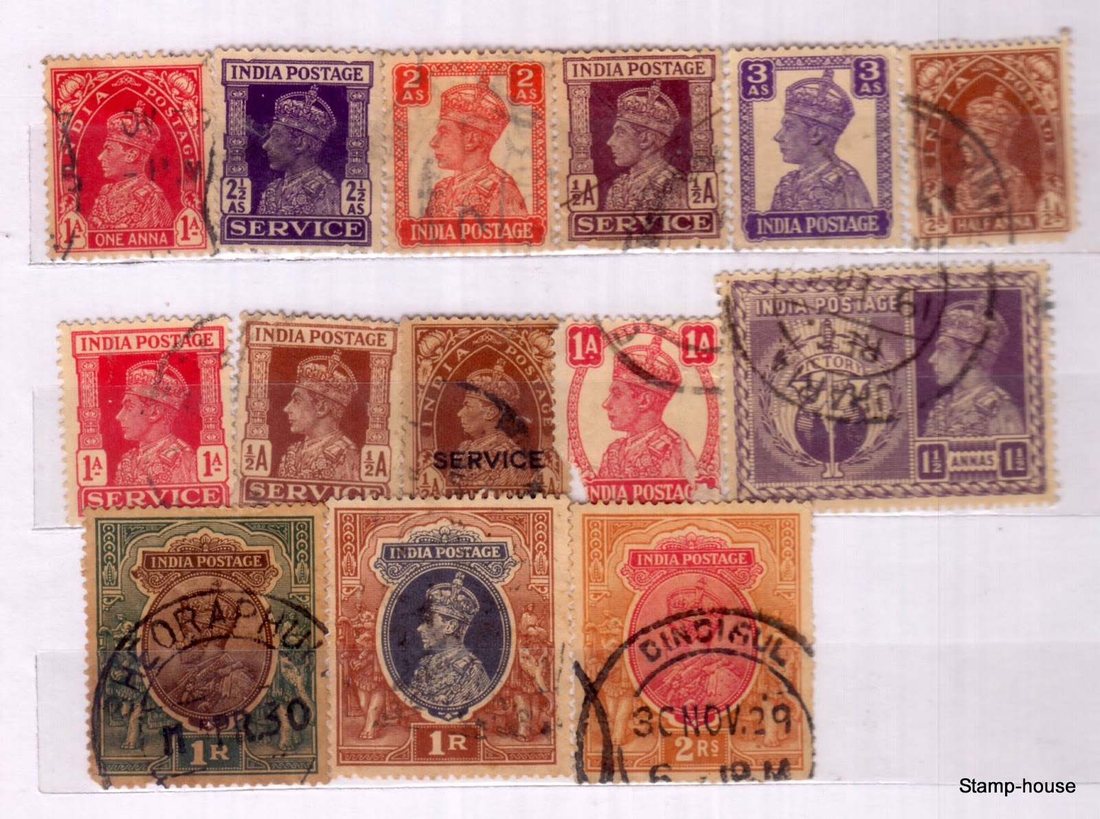 collection of 50 old indian british india period stamps