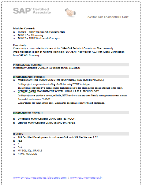 Url resume and sap