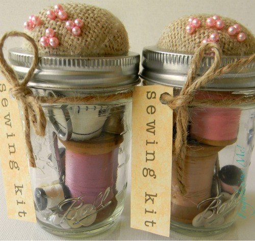Handmade ball jar sewing kit