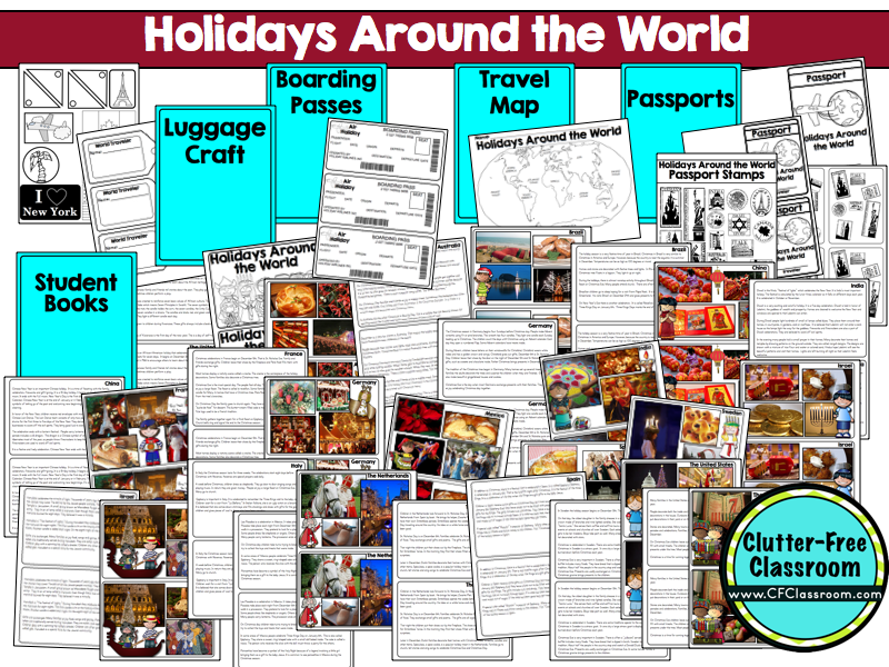 The packet contains the following 12 printable activities for Holidays around the world crafts