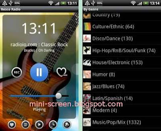 Free Resco Radio Player and Recorder App Interface