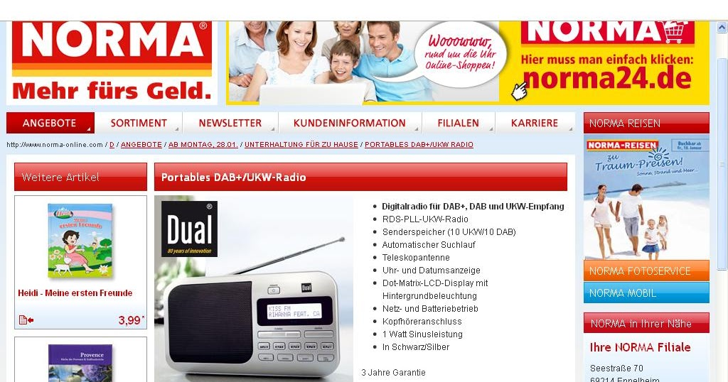 radio horeb digital dab dab radio bei norma. Black Bedroom Furniture Sets. Home Design Ideas