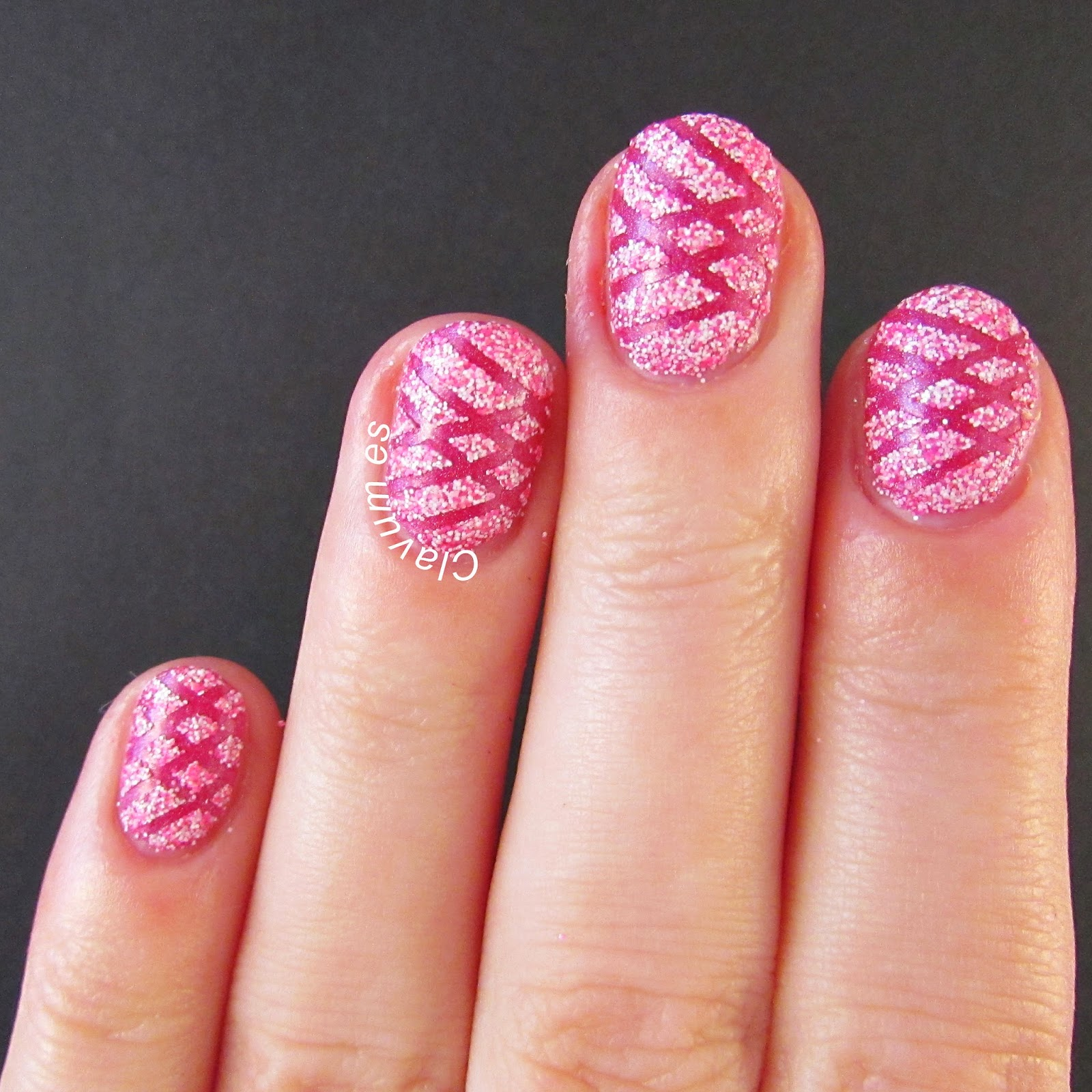 Pink Textured Taped Mani