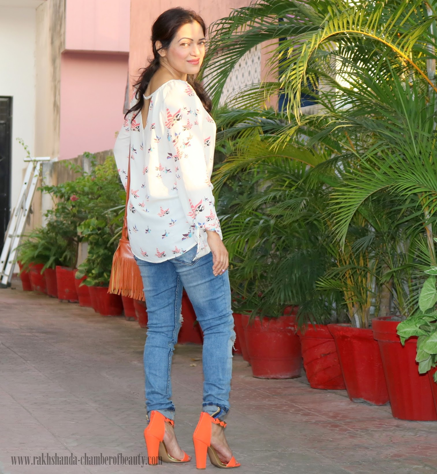 How to wear Orange in fall-OOTD, Amiclubwear Orange Strappy Chunky heels, Indian fashion blogger, Chamber of Beauty