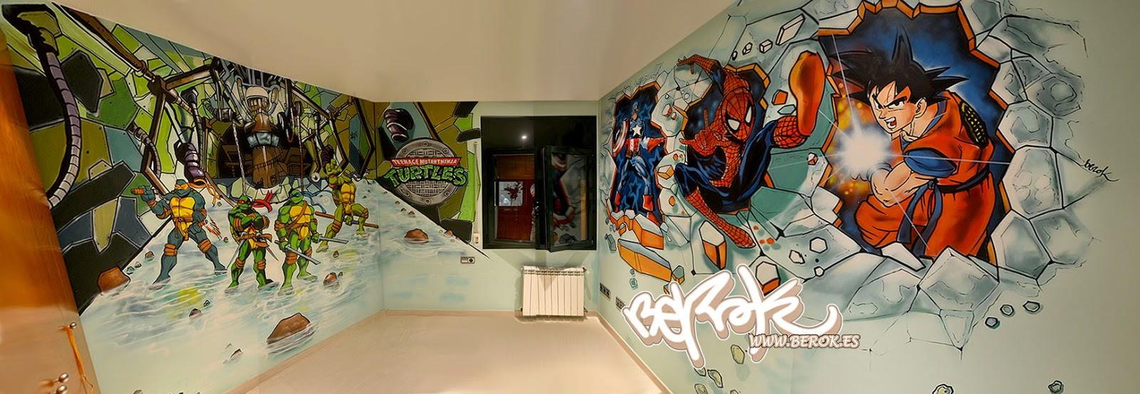 Berok graffiti mural profesional en barcelona habitaci n for Cuarto para las 5