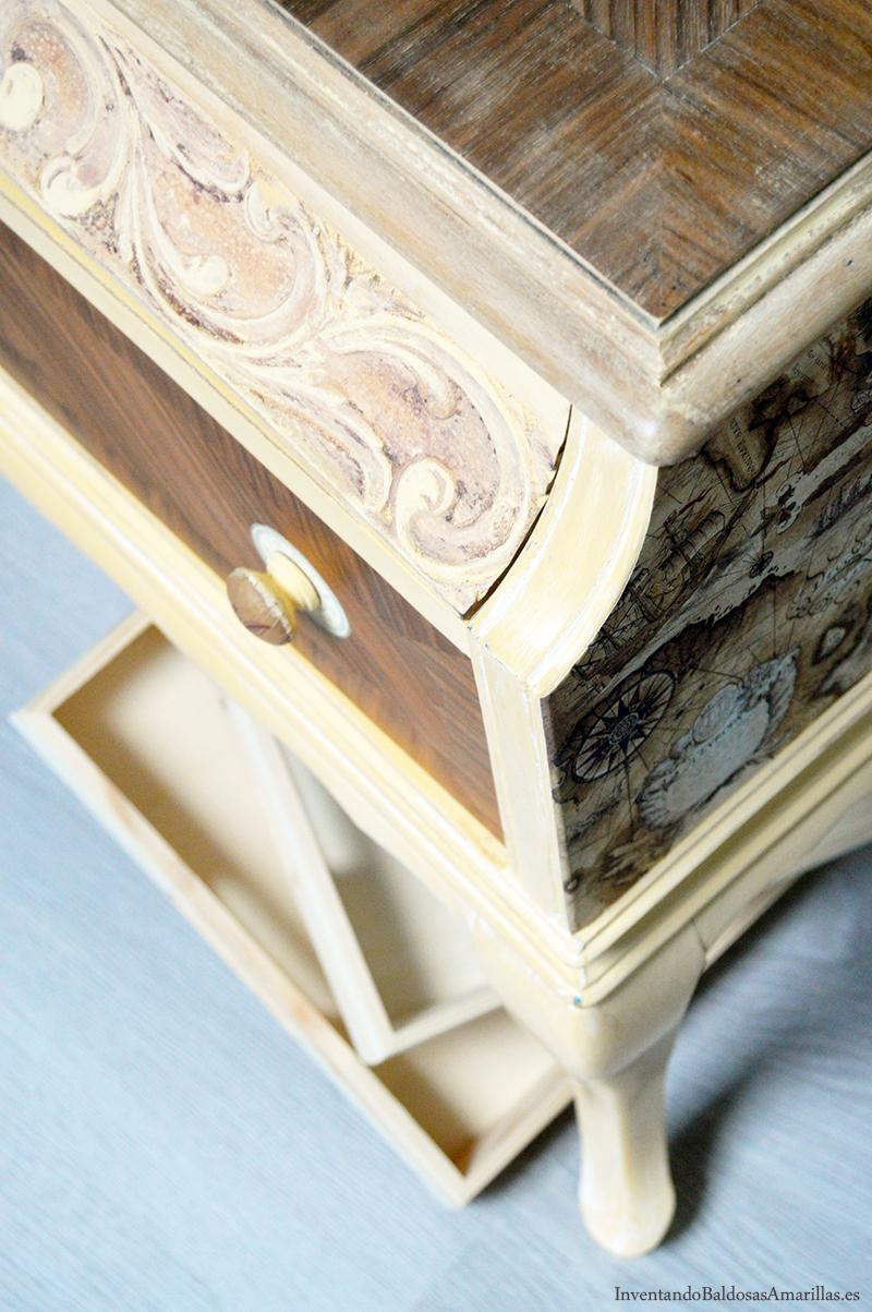 Decorar una mesilla vintage for Pintura para madera