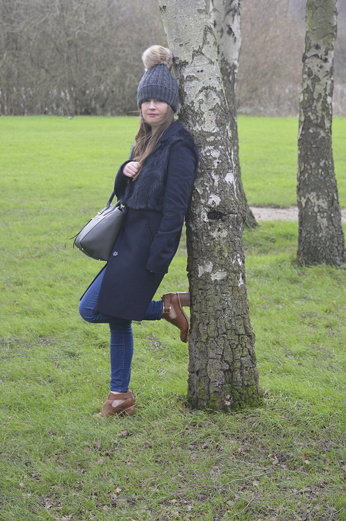 Topshop navy coat fashion blogger