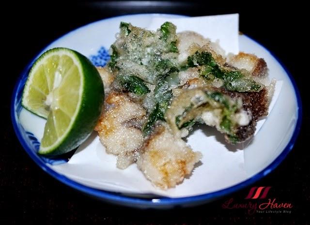 japanese restaurant akasaka kitafuku awabi tempura abalone
