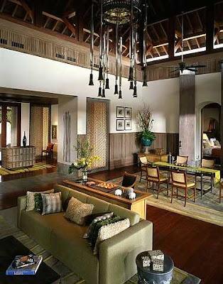 Dekorasi dalam villa dua bilik yang luas dan menarik di Four Seasons Resort.