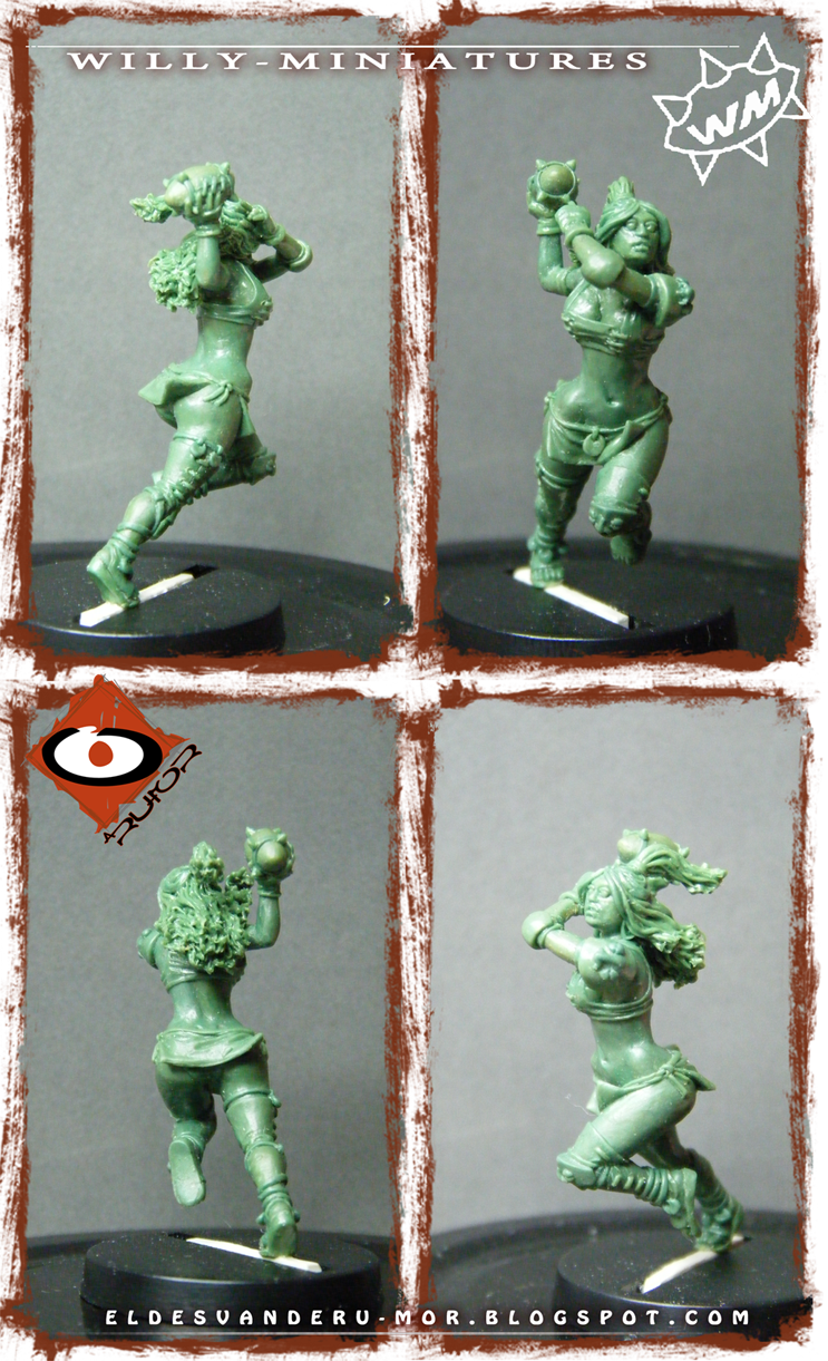 Bowl Amazon Team Thrower miniature by ªRU-MOR for WILLY Miniatures, fantasy football