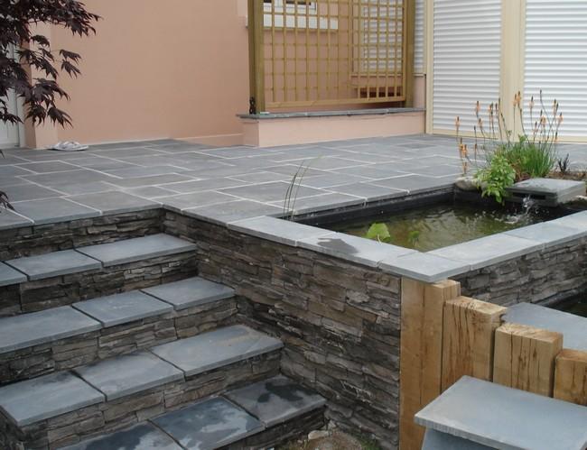 paysagiste val d 39 oise cr ation jardin 95 terrasse avec bassins et cascade. Black Bedroom Furniture Sets. Home Design Ideas