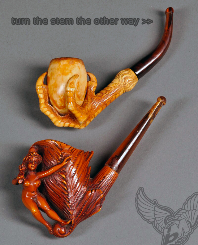 backwards stem meerschaum pipe