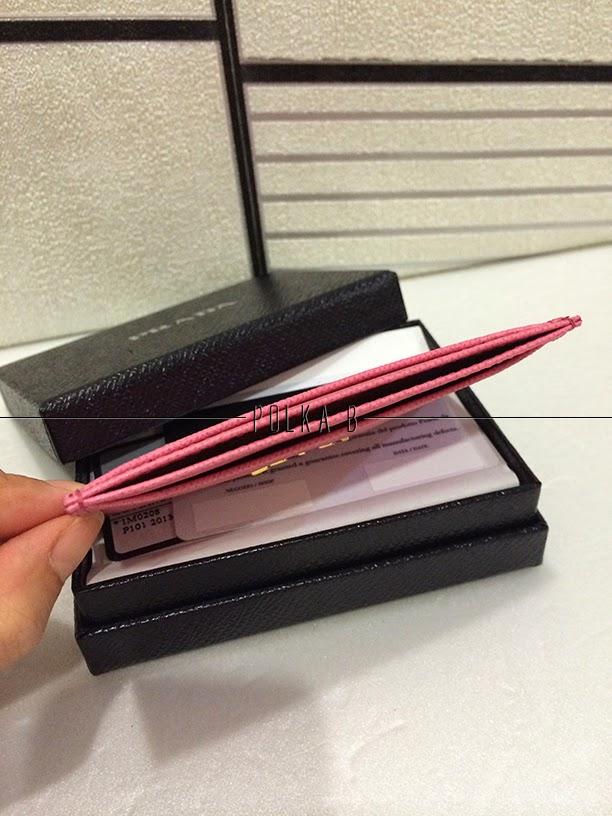 Prada Saffiano Leather Card Holder 1M0208 - Geranio | Polka B ...