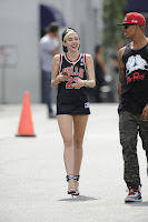 Miley Cyrus great legs in barely there short shorts