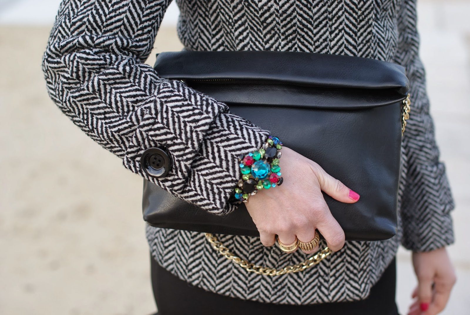 black Zara clutch, Mercantia bracelet, Fashion and Cookies, fashion blogger