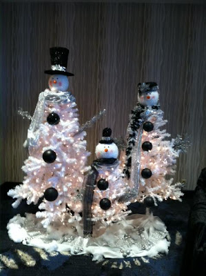 snowman christmas tree family