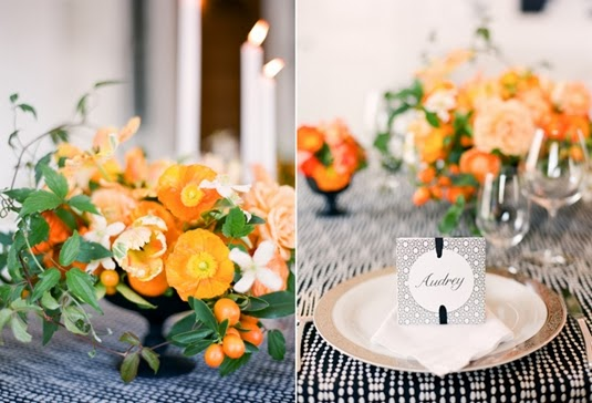 dukining svartvit, dukning orange svartvit, klassisk dukning orange, table setting orange black and white, tabel black and white, orange tablescape