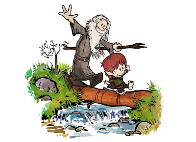 "Threadless Calvin & Hobbes x The Lord of the Rings T-Shirt ""Halfling and Wizard"""