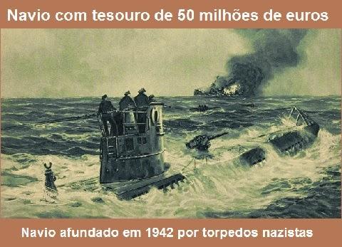 Navio afundado em 1942 por torpedos nazistas, foram encontrados em 2011 pela empresa especializada Deep Ocean Search (DOS).