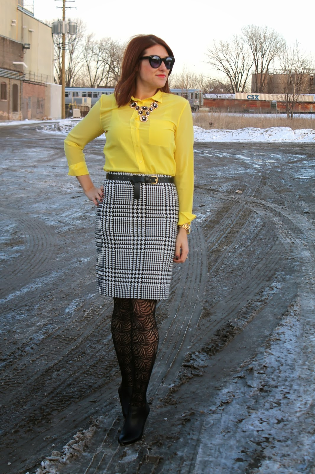 pencil, skirt, yellow