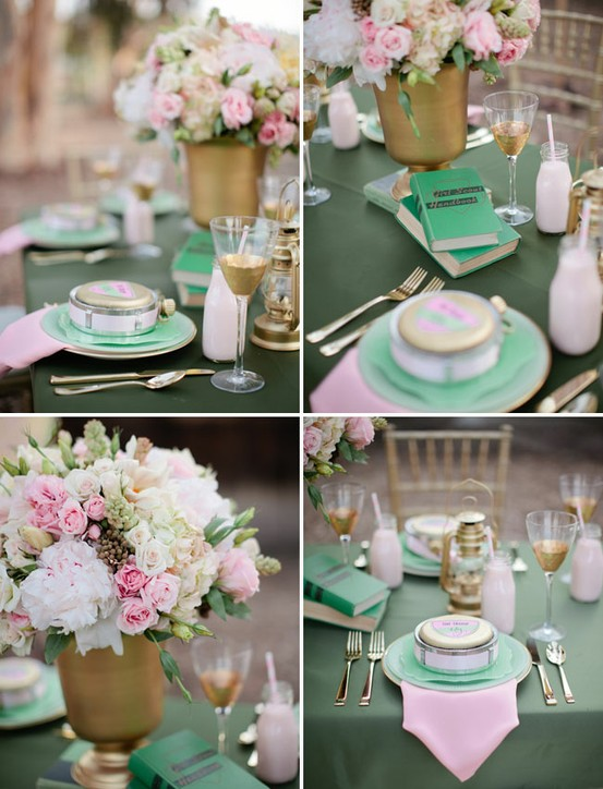 Pretty table layout. Mint greens, baby pink and ivory. Stunning