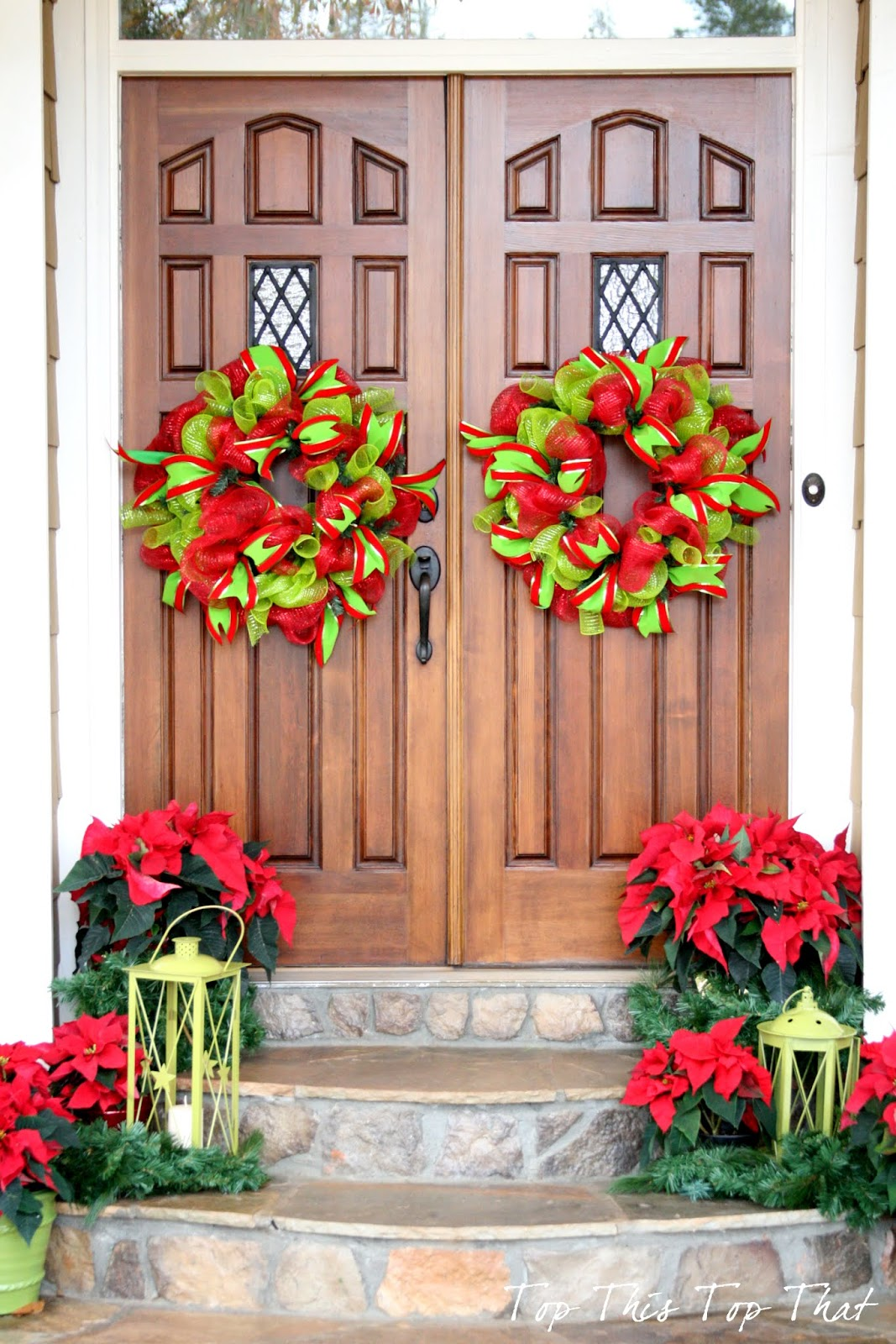 Front door deco mesh christmas decorations - Christmas Decor Outside The House