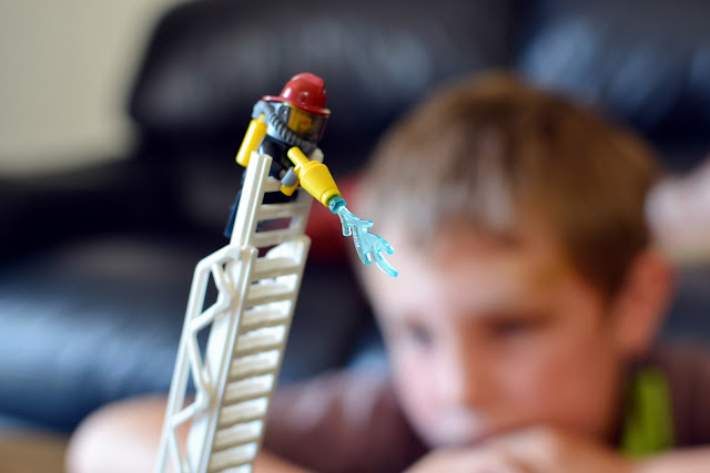 LEGO City Fire Truck fireman up the ladder