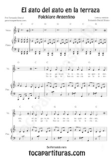 El Gato del Gato en la Terraza Partitura para Piano y Voz de Fernando Daniel Bruno,. Partitura y Canción del Folklore Argentino