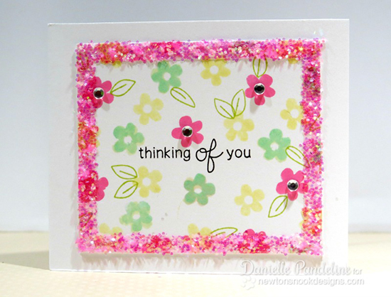 Sparkly Thinking of You card by Danielle Pandeline! Stamps by Newton's Nook Designs